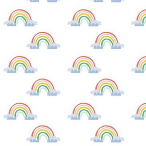 Rainbow clouds magic cute baby pattern - smaller scale