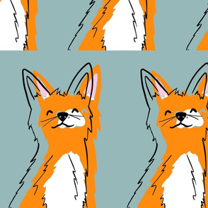Teal and Orange Smiling Fox Colorful Fox Pattern