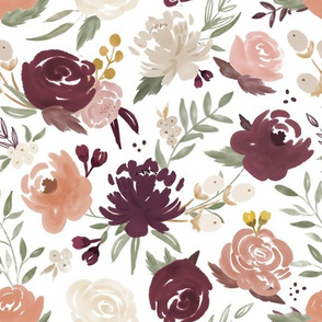 Watercolor Floral - Bergundy and Blush w/ Peach