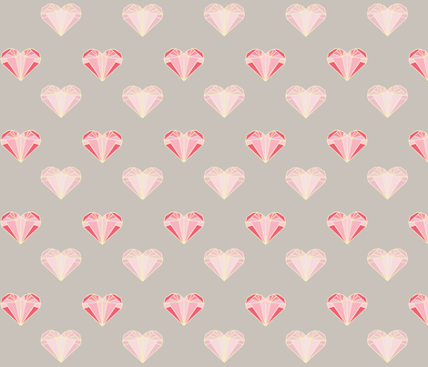 Pink Geometric Hearts fabric by squirrelcoffee on Spoonflower - custom fabric
