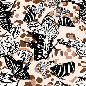 Zebra Butterflies on Leopard brown