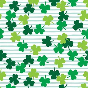 shamrocks (multi) on mint stripes - st patricks day
