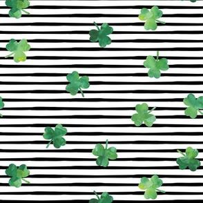 shamrock on black stripes - st patricks day