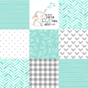 Elephant//You are the best thing about me// Teal - Wholecloth Cheater Quilt