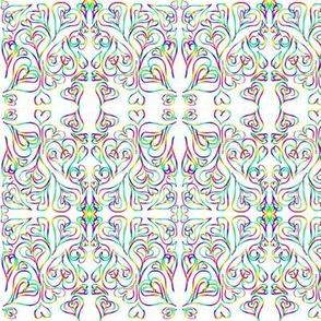 Swirling Rainbow Sweethearts on White