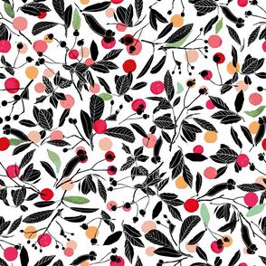 white_black_silouette_red_dot_winter_berry_seaml_stock