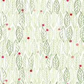 white_green_leaf_red_dot_structure_winter_berry_seaml_stock