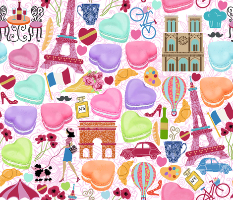 J'adore Paris fabric by honoluludesign on Spoonflower - custom fabric