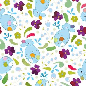 white_blue_single_floral_rabbit_seaml_stock