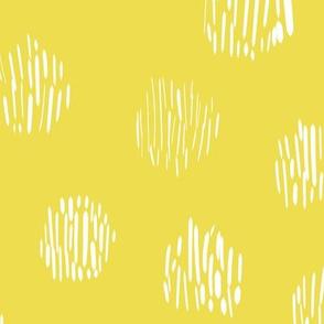 modern scandi polka dots on yellow lime