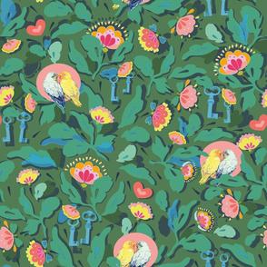 green_bird_tree_floral_stock