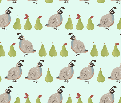 Partridges and Pears fabric by charladraws on Spoonflower - custom fabric