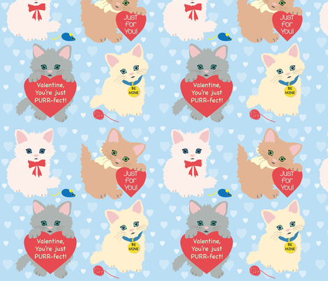 PURR-fect Valentine fabric by kittenmoonstudio on Spoonflower - custom fabric