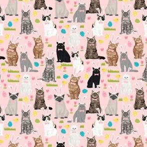 SMALL - cats easter bunny costume fabric - kitty cat pastel easter bunny cute pink easter eggs design