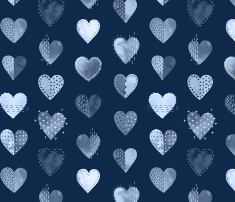 My Boro Heart fabric by marketa_stengl on Spoonflower - custom fabric