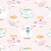 Vintage tea set pink dots