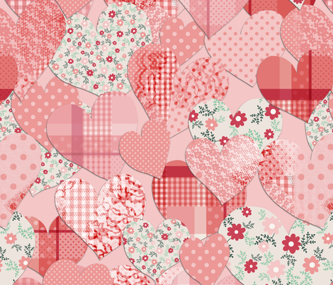Patterned Hearts fabric by mgdoodlestudio on Spoonflower - custom fabric