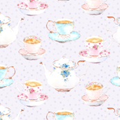 Vintage tea set lilac dots
