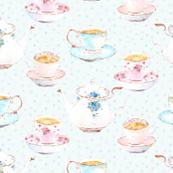 Vintage tea set aqua dots