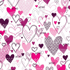 Hearts and Kisses (White and Pink)