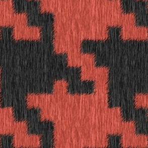 Fuzzy Coral and Black Houndstooth Plaid