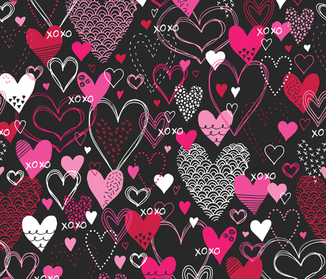 Hearts and Kisses fabric by robyriker on Spoonflower - custom fabric