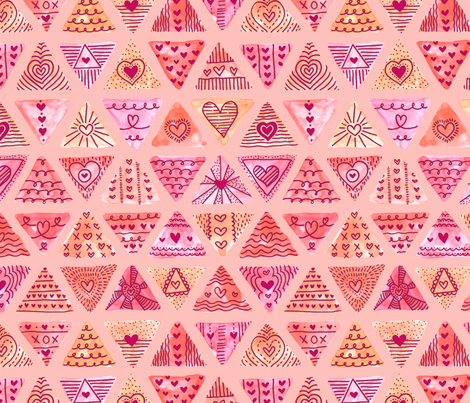 Valentine Triangle Doodle fabric by bexdsgn on Spoonflower - custom fabric
