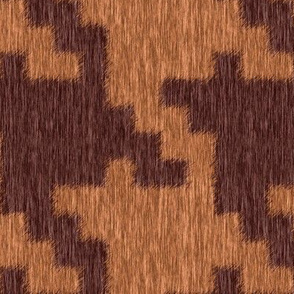 Fuzzy Brown and Beige Houndstooth Plaid