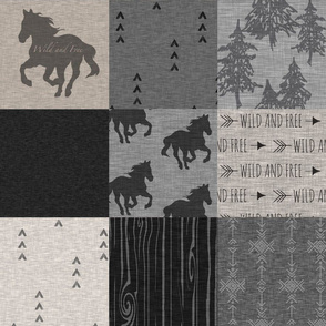 Wild and Free Horses Quilt - tan and black