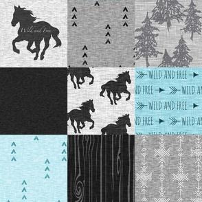 Wild And Free Horses Quilt - Aqua And black