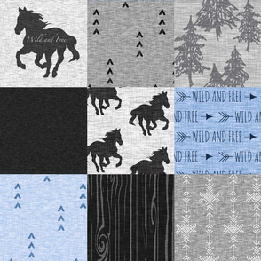 wild and Free Horses Quilt - Blue And black