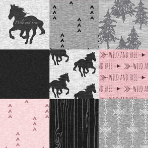 Wild and Free Horses Quilt - pink and black