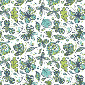 Butterflies Green and Teal on White