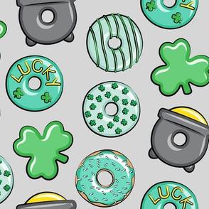 Saint Patricks Day Donuts - mint on light grey