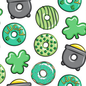 Saint Patricks Day Donuts - green on white