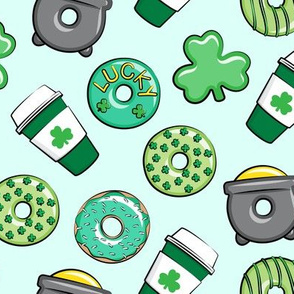 Saint Patricks Day Donuts & Coffee  - green on mint