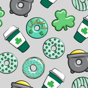 Saint Patricks Day Donuts & Coffee  - mint on light grey