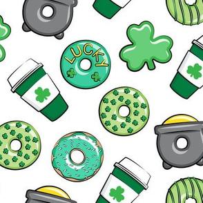 Saint Patricks Day Donuts & Coffee  - green on white