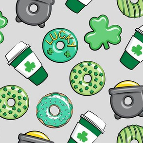Saint Patricks Day Donuts & Coffee  - green on light grey
