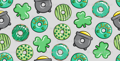 Saint Patricks Day Donuts - green on light grey
