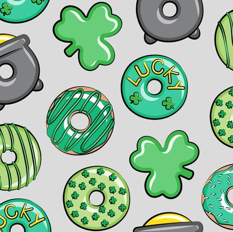 Saint Patricks Day Donuts - green on light grey fabric by littlearrowdesign on Spoonflower - custom fabric
