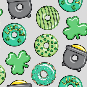 Saint Patricks Day Donuts - green on light grey