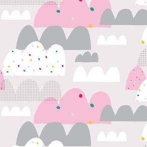 girls clouds spotty sky pink pattern