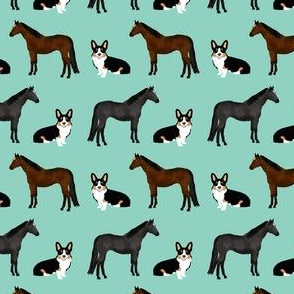 tri corgi and horse fabric