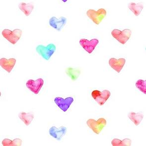 Rainbow hearts • watercolor love