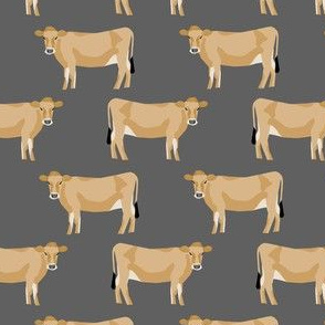 jersey cow fabric - farm animals fabric, cow fabric, cattle fabric, farm fabric, jersey cow print - charcoal