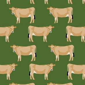 jersey cow fabric - farm animals fabric, cow fabric, cattle fabric, farm fabric, jersey cow print - green