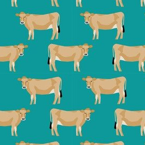 jersey cow fabric - farm animals fabric, cow fabric, cattle fabric, farm fabric, jersey cow print - teal
