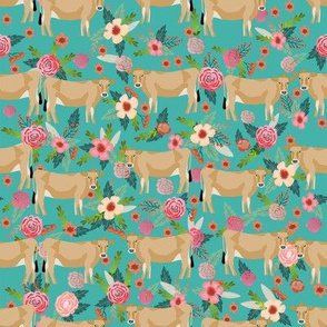 jersey cow floral fabric - feminine jersey cow fabric, jersey cow fabric, floral farm animals fabric, farm fabric - cute fabric - turquoise