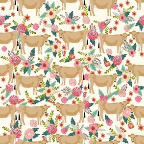 jersey cow floral fabric - feminine jersey cow fabric, jersey cow fabric, floral farm animals fabric, farm fabric - cute fabric - cream